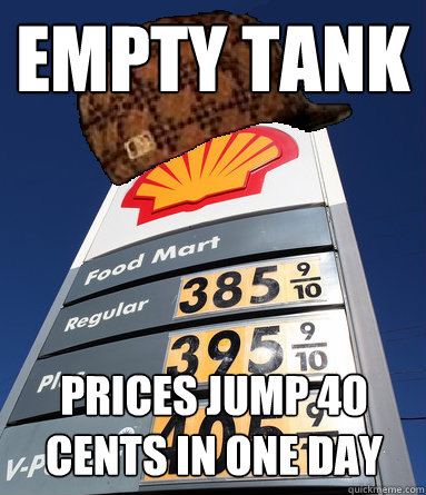 Empty Tank Prices jump 40 cents in one day