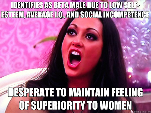 identifies as beta male due to low self-esteem, average I.Q., and social incompetence Desperate to maintain feeling of superiority to women - identifies as beta male due to low self-esteem, average I.Q., and social incompetence Desperate to maintain feeling of superiority to women  Feminist Nazi