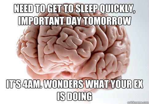 Need to get to sleep quickly, important day tomorrow It's 4AM. Wonders what your ex is doing  - Need to get to sleep quickly, important day tomorrow It's 4AM. Wonders what your ex is doing   Scumbag Brain