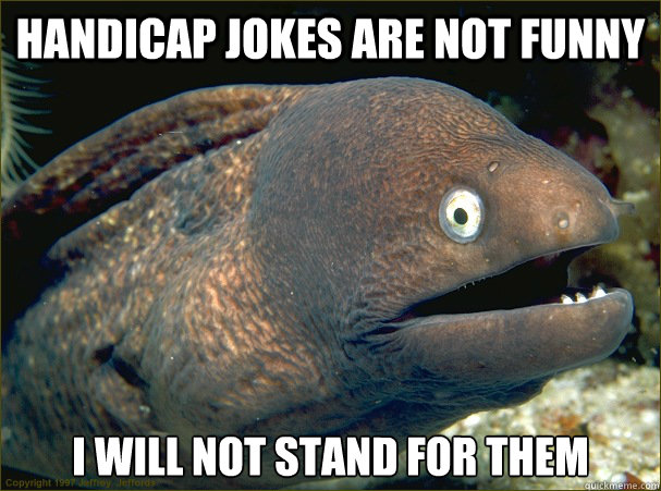 Handicap Jokes are NOT funny I will not stand for them - Handicap Jokes are NOT funny I will not stand for them  Bad Joke Eel