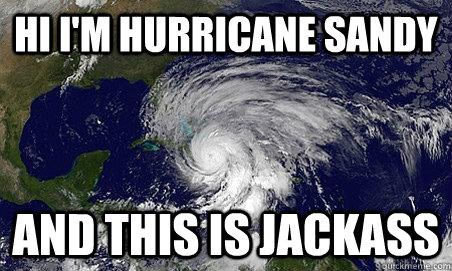 Hi I'm Hurricane sandy and this is jackass  Hurricane Sandy