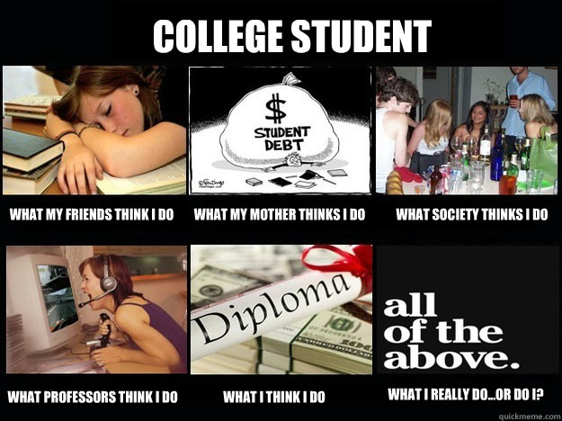 College Student What my friends think I do What my mother thinks I do What society thinks I do what professors think I do what I think I do What I really do...or do I?