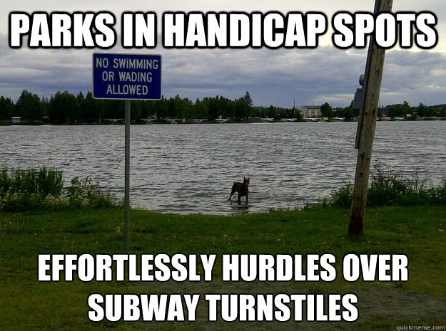 Parks in handicap spots Effortlessly hurdles over subway turnstiles