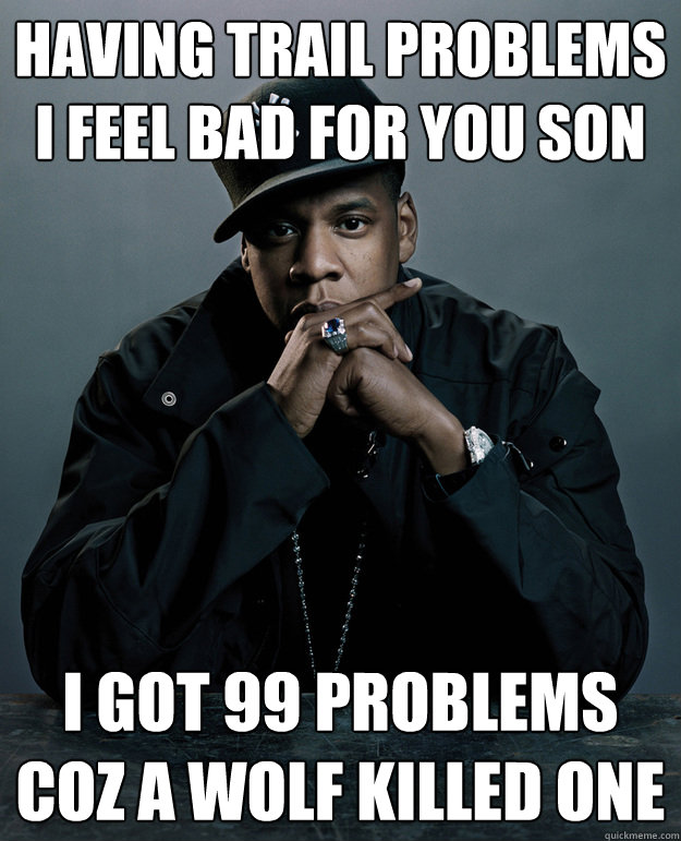 Having trail problems I feel bad for you son I got 99 problems coz a wolf killed one  Jay-Z 99 Problems