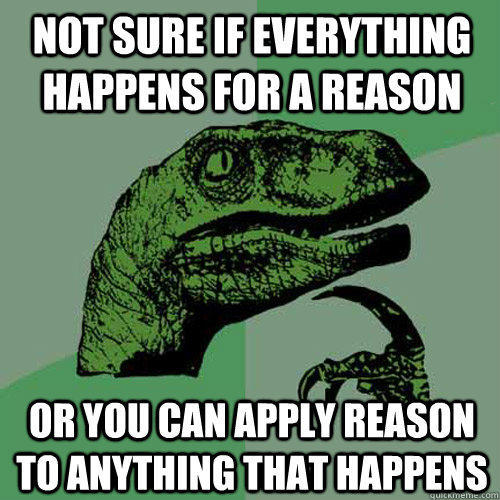 Not sure if everything happens for a reason Or you can apply reason to anything that happens - Not sure if everything happens for a reason Or you can apply reason to anything that happens  Philosoraptor