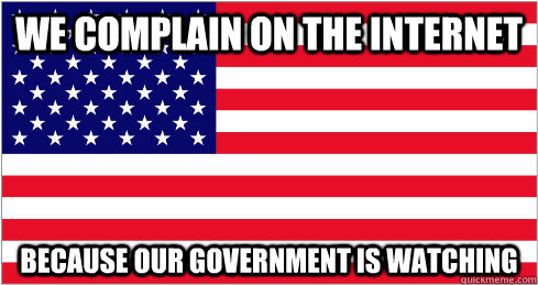 We complain on the internet because our government is watching - We complain on the internet because our government is watching  American Flag