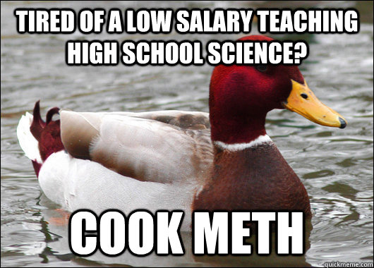 Tired of a low salary teaching high school science? Cook meth - Tired of a low salary teaching high school science? Cook meth  Malicious Advice Mallard
