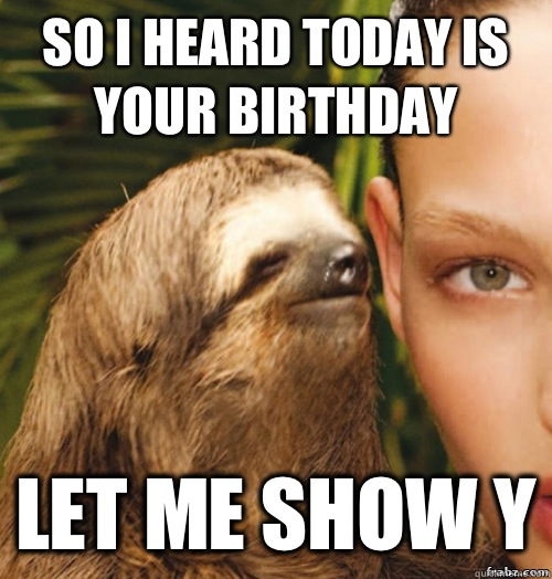 15e529db6e6ac6c50f4fa5006f34b3ed5471860b2fb0277d1739500adc41b0ef so i heard today is your birthday let me show y rape sloth,Today Is Your Birthday Meme