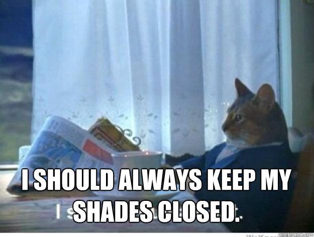 i should always keep my shades closed.