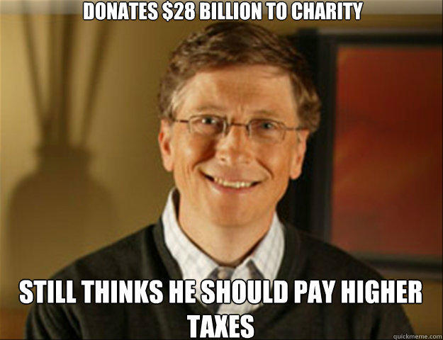 Donates $28 Billion to charity Still thinks he should pay higher taxes  Good guy gates