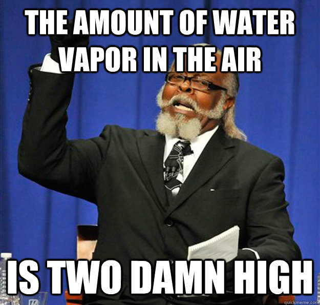 The amount of water vapor in the air Is two damn high  Jimmy McMillan