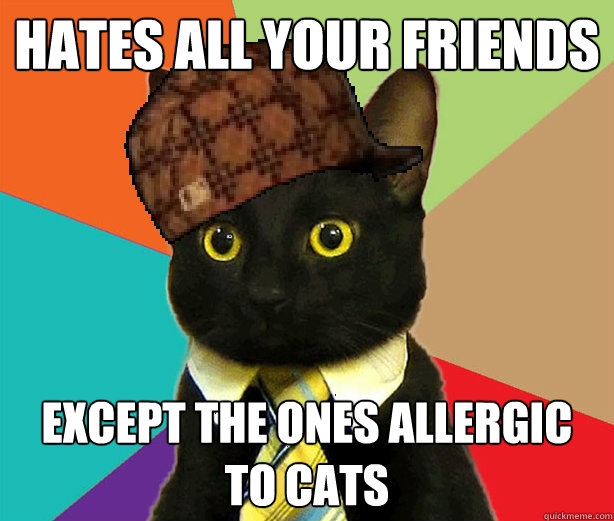 15f21abd0bf3425de6c0a1c30a4d882344119dc607e47916f8d3b454886040a8 hates all your friends except the ones allergic to cats scumbag