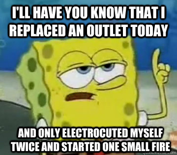 I'll Have You Know That I replaced an outlet today and only electrocuted myself twice and started one small fire