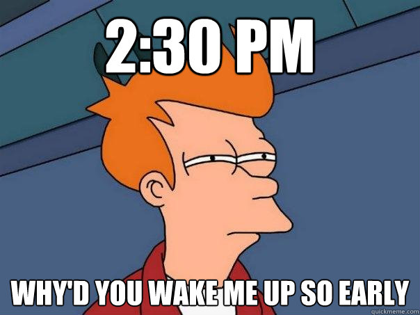 2:30 pm why'd you wake me up so early - 2:30 pm why'd you wake me up so early  Futurama Fry