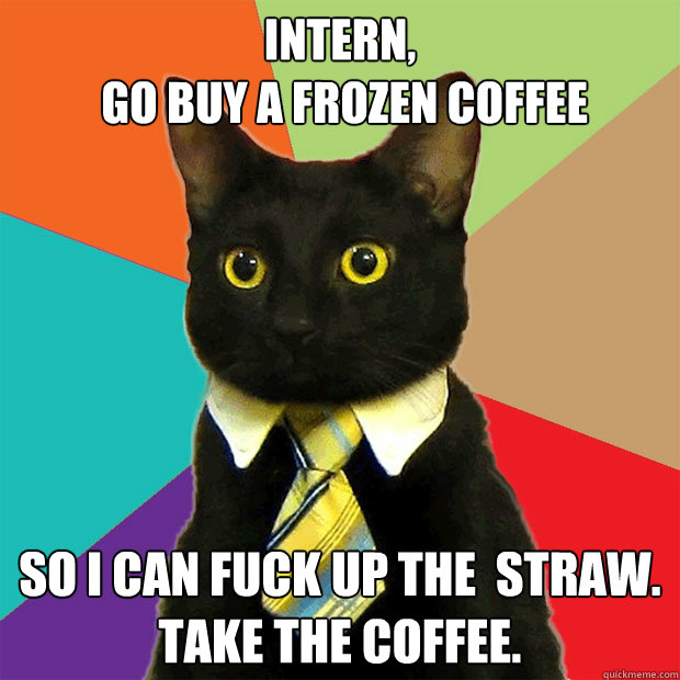 Intern,  go buy a frozen coffee So I can fuck up the  straw.   Take the coffee. - Intern,  go buy a frozen coffee So I can fuck up the  straw.   Take the coffee.  Business Cat