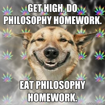 Get high, do philosophy homework. Eat philosophy homework. - Get high, do philosophy homework. Eat philosophy homework.  Stoner Dog