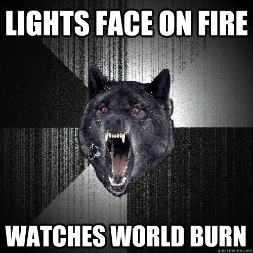 lights face on fire watches world burn - lights face on fire watches world burn  Insanity Wolf