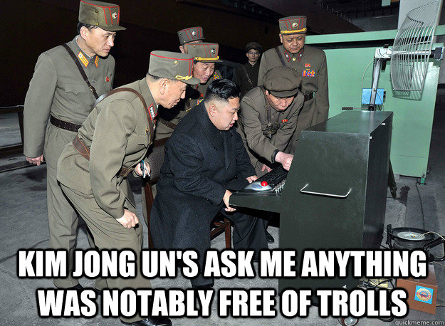 kim jong un's ask me anything was notably free of trolls -  kim jong un's ask me anything was notably free of trolls  kim jong un
