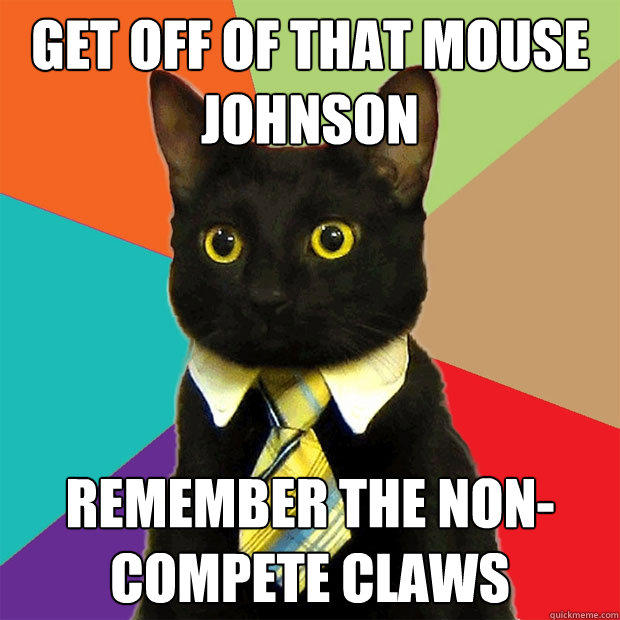 get off of that mouse johnson remember the non-compete claws - get off of that mouse johnson remember the non-compete claws  Business Cat