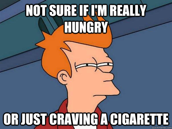Not sure if i'm really hungry or just craving a cigarette - Not sure if i'm really hungry or just craving a cigarette  Futurama Fry