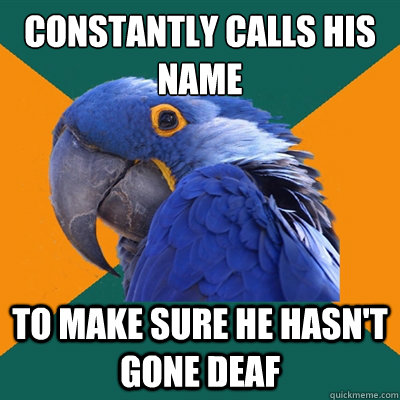 constantly calls his name to make sure he hasn't gone deaf - constantly calls his name to make sure he hasn't gone deaf  Paranoid Parrot