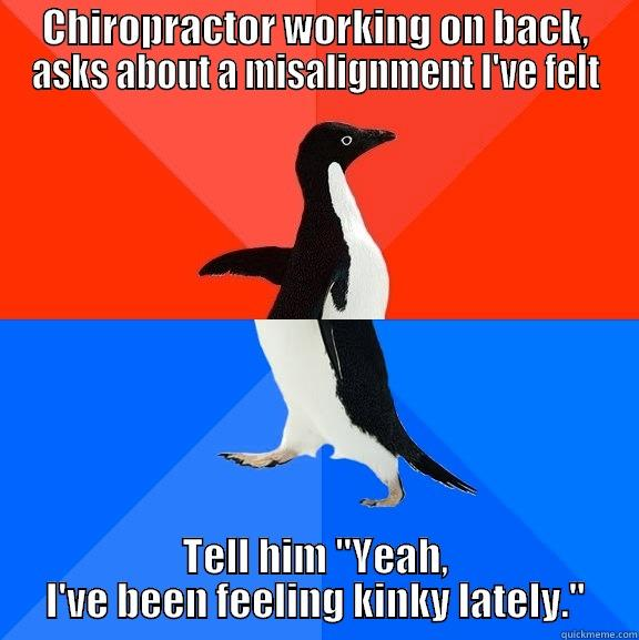 Kinked.. not kinky... wtf brain. - CHIROPRACTOR WORKING ON BACK, ASKS ABOUT A MISALIGNMENT I'VE FELT TELL HIM