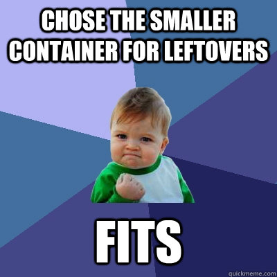 Chose the smaller container for leftovers fits - Chose the smaller container for leftovers fits  Success Kid