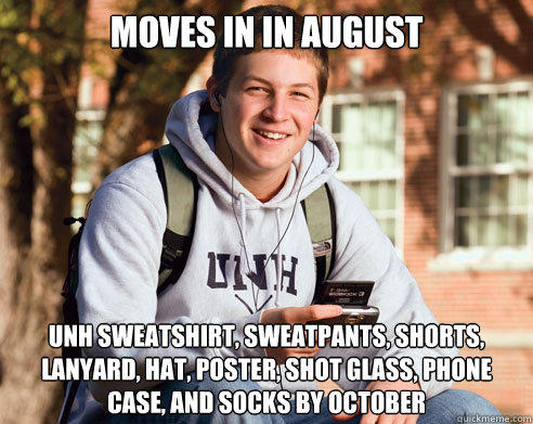 MOVES IN IN AUGUST UNH SWEATSHIRT, SWEATPANTS, SHORTS, LANYARD, HAT, POSTER, SHOT GLASS, PHONE CASE, AND SOCKS BY OCTOBER - MOVES IN IN AUGUST UNH SWEATSHIRT, SWEATPANTS, SHORTS, LANYARD, HAT, POSTER, SHOT GLASS, PHONE CASE, AND SOCKS BY OCTOBER  College Freshman