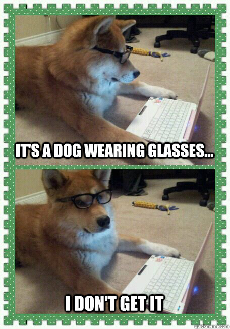 It's a dog wearing glasses... I don't get it