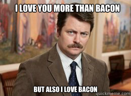 16ad6e361c0c8f951f9dddb00b1ba9383c2b47d6801e958348a386584e712def i love you more than bacon but also i love bacon ron swanson,More Than That Meme