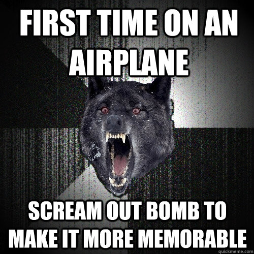 first time on an airplane  scream out bomb to make it more memorable  - first time on an airplane  scream out bomb to make it more memorable   Insanity Wolf