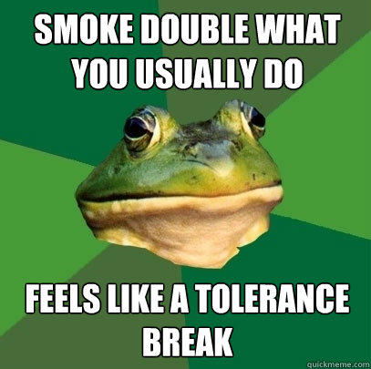 Smoke double what you usually do Feels like a tolerance break  - Smoke double what you usually do Feels like a tolerance break   Foul Bachelor Frog