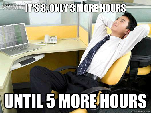 It's 8, only 3 more hours until 5 more hours  Office Thoughts