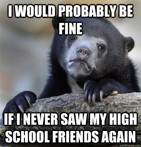 i would probably be fine if i never saw my high school friends again - i would probably be fine if i never saw my high school friends again  Confession Bear
