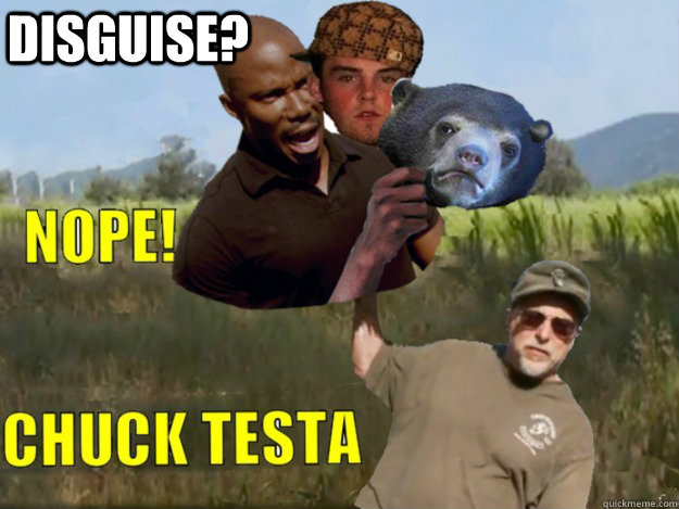 DISGUISE? - DISGUISE?  Doakes, Steve, Confession Bear, Chuck Testa