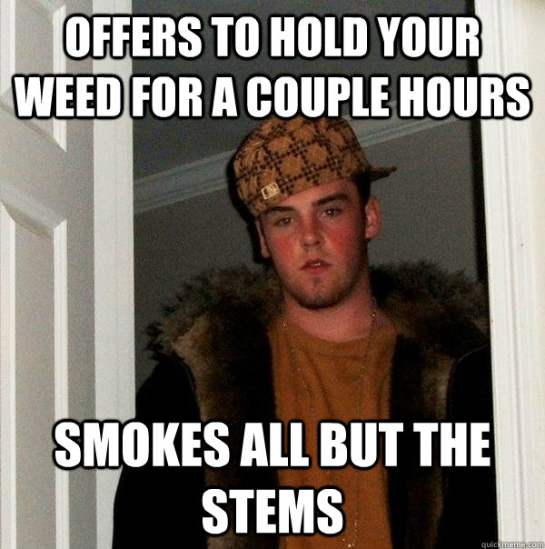 Offers to hold your weed for a couple hours Smokes all but the stems - Offers to hold your weed for a couple hours Smokes all but the stems  Scumbag Steve