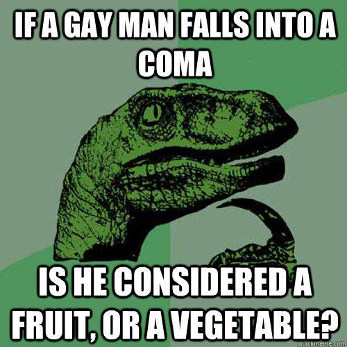 If a gay man falls into a coma Is he considered a Fruit, or a Vegetable? - If a gay man falls into a coma Is he considered a Fruit, or a Vegetable?  Philosoraptor