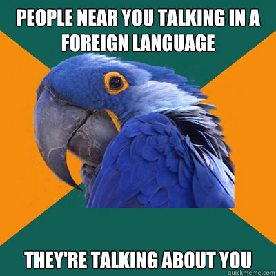 People near you talking in a foreign language they're talking about you  - People near you talking in a foreign language they're talking about you   Paranoid Parrot