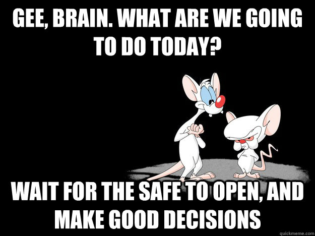Gee, Brain. What are we going to do today? Wait for the safe to open, and make good decisions - Gee, Brain. What are we going to do today? Wait for the safe to open, and make good decisions  Misc