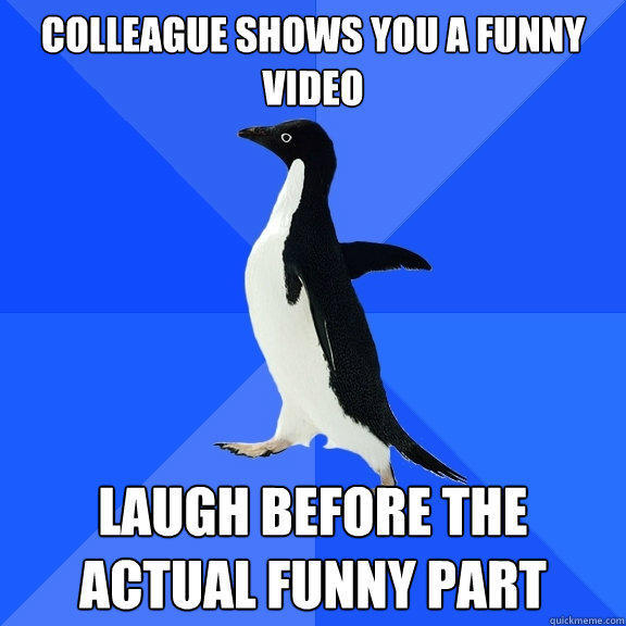 Colleague shows you a funny video Laugh before the actual funny part - Colleague shows you a funny video Laugh before the actual funny part  Socially Awkward Penguin