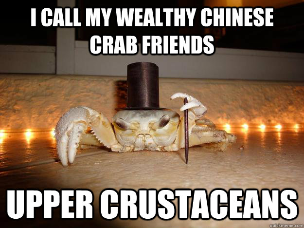 I call my wealthy Chinese crab friends upper crustaceans  Fancy Crab