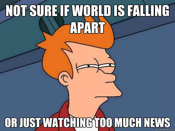 not sure if world is falling apart or just watching too much news - not sure if world is falling apart or just watching too much news  Futurama Fry