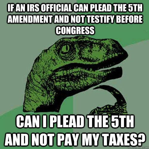If an IRS Official can plead the 5th amendment and not testify before Congress Can I plead the 5th and not pay my taxes?  Philosoraptor