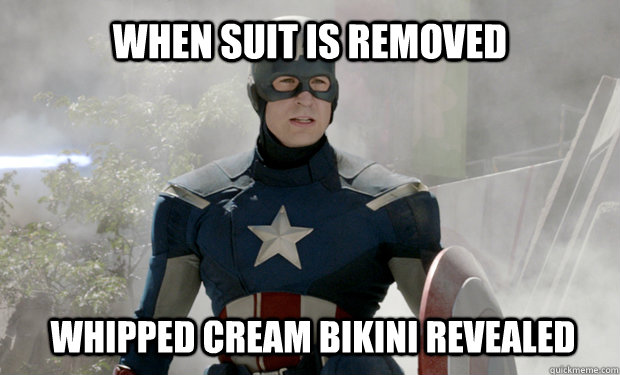 When suit is removed whipped cream bikini reveALED - When suit is removed whipped cream bikini reveALED  Captain Americas Truth