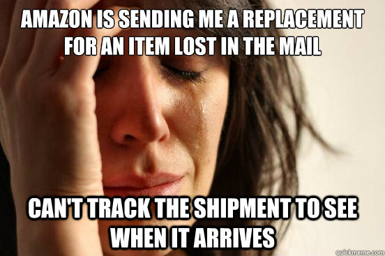 Amazon is sending me a replacement for an item lost in the mail Can't track the shipment to see when it arrives - Amazon is sending me a replacement for an item lost in the mail Can't track the shipment to see when it arrives  First World Problems