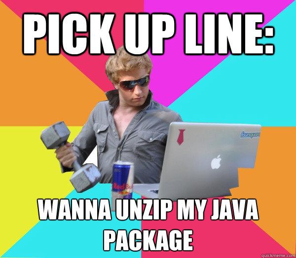 Pick up line: Wanna unzip my java package  Brogrammer