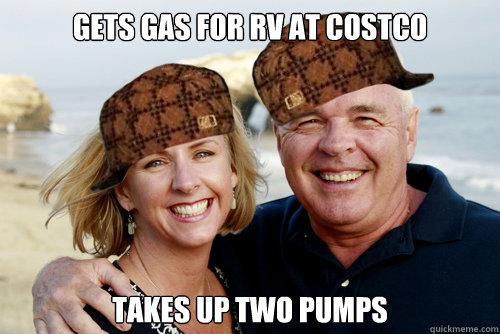 Gets gas for RV at Costco Takes up two pumps