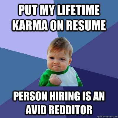 Put my lifetime karma on resume person hiring is an avid redditor - Put my lifetime karma on resume person hiring is an avid redditor  Success Kid