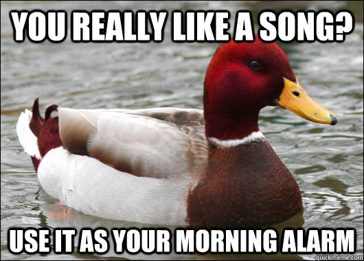You really like a song? Use it as your morning alarm - You really like a song? Use it as your morning alarm  Malicious Advice Mallard