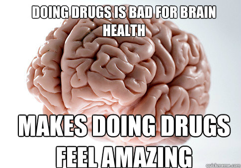 DOING DRUGS IS BAD FOR BRAIN HEALTH MAKES DOING DRUGS FEEL AMAZING - DOING DRUGS IS BAD FOR BRAIN HEALTH MAKES DOING DRUGS FEEL AMAZING  Scumbag Brain